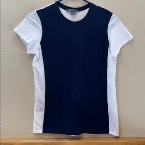 VINCE T SHIRT SIZE SMALL BLUE WHITE COLORBLOCK